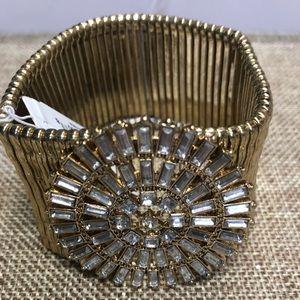 ViVI gold stretch rhinestone bracelet! NWT!